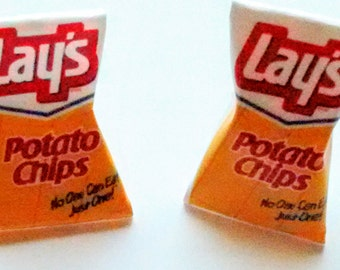Lay's Potato Chips Earrings - Miniature Food Jewelry - Inedible Jewelry - Gifts for Foodies - Kid's Jewelry - Kawaii Jewelry - Bag of Chips