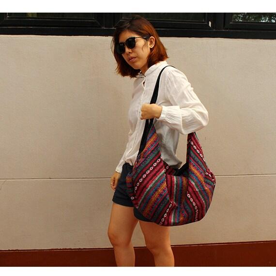 Brown Cotton Bag Hippie bag Hobo bag Shoulder bag Sling bag Messenger bag Tote bag Crossbody Purse Women bag Handbags (SH33)