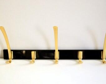 Mid Century coat rack / vintage wall hooks / German furniture / home decoration / towel bar | West Germany | 50s green