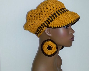 Crochet Newsboy Hat, Yellow Gold and Brown Newsboy Hat and Earrings Set, Women's Winter Hat, Visor Cap with Earrings, Womens Newsboy Hat