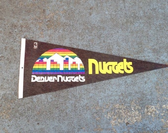 Retro Denver Nuggets Pennant / Vintage NBA Basketball Denver Nuggets Rainbow Felt Pennant