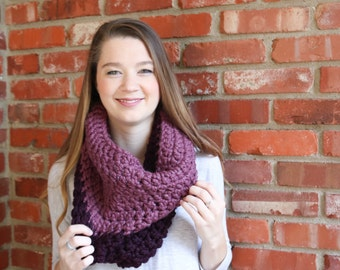 Two Toned Chunky Crochet Cowl - Eggplant & Fig - The Siewart Cowl