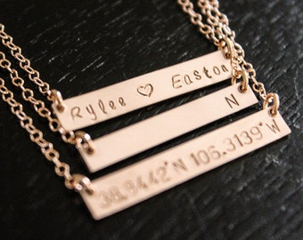 Rose Gold Bar Necklace / Rose Gold Name Plate / Simple Rose Gold Necklace / Layered Rose Gold Necklace / Dainty Rose Gold Necklace