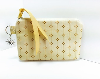 Business Card Case, Coin Purse, Petite Tan Print, Gift Card Credit Card Holder, Small Zipper Pouch, Change Purse