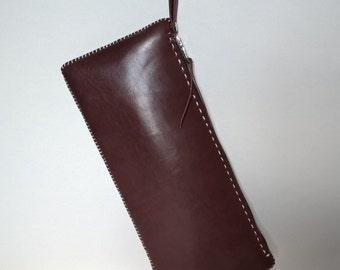 Hand made leather bag. Clutch bag. Shoulder strap. Evening bag.