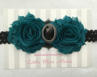 Teal & Lace Headband, Black Pendant, Lace, Teal, Babies, Adults