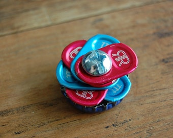 Upcycled Colorful Pop Tab Flower and Bottlecap Magnet