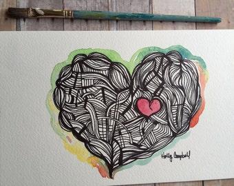 Original Heart Drawing- Watercolor heart, Watercolor and Ink Heart