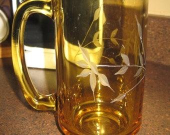 Vintage etched amber beer mug