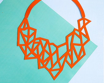 POLYGON - Modern eco-leather necklace || 100% Handmade ||