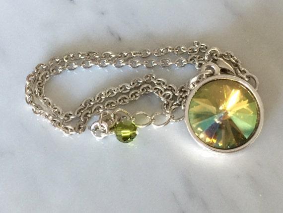 Crystal Verde Necklace, Swarovski Crystal Verde Necklace, Swarovski Verde Pendant, Green Crystal Necklace