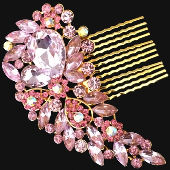 Elegant Bridal Set Heavy Gold Plated Diamante Crystal: Gold Pink Vintage Style Hair Comb Encrusted Clear Crystals