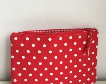Beautiful red / white dotted make up bag