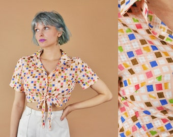 90s Tie Front Top, Club Kid, Raver, Short Sleeve Shirt, 1990s Crop Top, Square Print, Graphic Print, Colorful, Collared Sleeveless Blouse