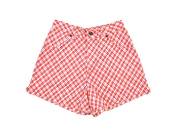 Size 7/8, 90's Plaid Denim Shorts, Vintage Jean Shorts, High Waisted Shorts, Size 6, Size 8, Plaid Shorts, Soft Grunge