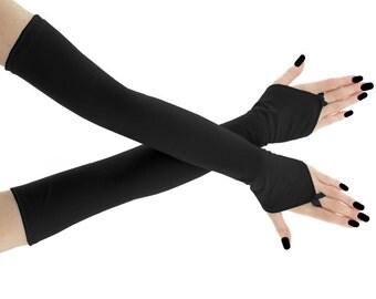 fingerless gloves, arm warmers, gothic gloves, evening gloves, black gloves, formal gloves, long gloves, opera gloves, women gloves, 0025R
