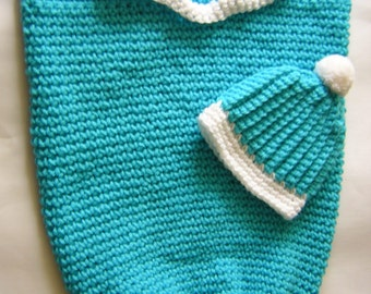 Teal Baby Cocoon with Matching Hat - Crochet - Baby Cocoon Photo Prop - READY TO SHIP