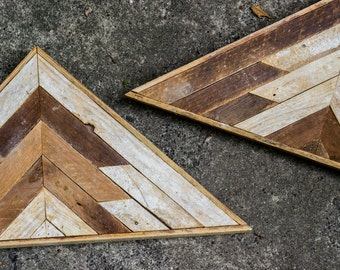 Set of Two- Reclaimed Lath Wood Triangle Wall Hangings with Southwestern Tribal Arrow Pattern