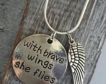 WITH BRAVE WINGS She Flies -Pendant Necklace