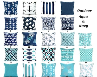 OUTDOOR Pillow Covers Aqua Navy Blue, Decorative Throw Pillows Nautical Pillows Beach Decor Patio Sun Room One or More Mix & Match All Sizes