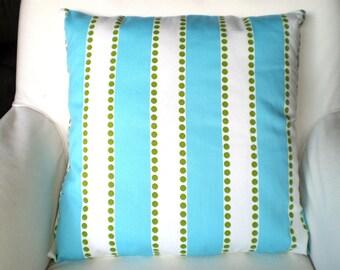 Aqua Stripe Pillow Covers, Decorative Throw Pillows, Cushions, Aqua White Stripe Lulu, Couch Bed Sofa, Throw Pillow, Girly Blue, ALL SIZES