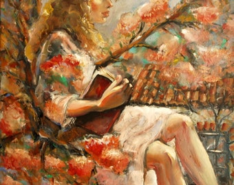 Oil painting - modern art - figurative art - portrait - woman - canvas art - expressionism - surrealism - impressionism - tree - landscape