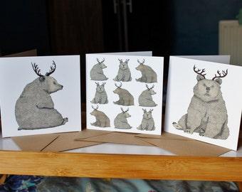 Bear Christmas Cards 3 Pack