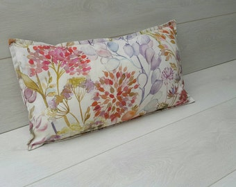flower pillow cushion ~autumn hedgerow linen fabric~ flower cushion, mothers day gift, cream linen cushion, watercolour, country decor