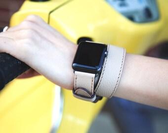 Double Tour Apple Watch Band, Double Wrap Apple Watch Band, Creme Leather IWatch Band