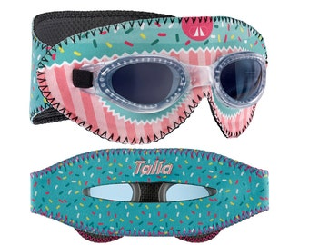 Personalized Giggly Goggles Cupcake swim goggles, the most fun & comfortable goggles! personalized with name, initials or team name