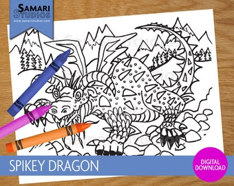 Spikey Dragon - Hand Drawn Printable Coloring Sheet - Kids Coloring Page - Instant Download - Printable