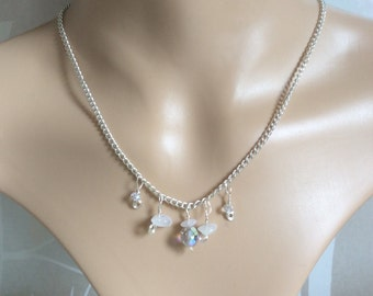 Delicate Rose Quartz and Crystal Bead Choker