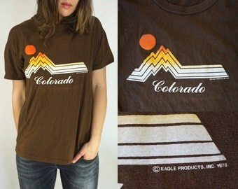 Vtg 70s T-Shirt || Vintage tee || Colorado 1978 || Brown T-Shirt Worn in Thin Medium Large