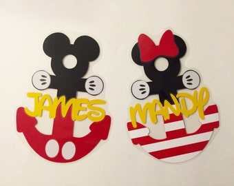 Personalized Mickey or Minnie Anchor - Disney Cruise Stateroom Door Magnets