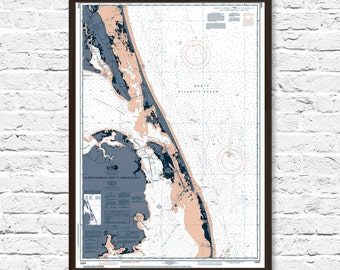 Outer Banks Map, Outer Banks, Beach Decor, Beach House Poster, Currituck NC, Currituck Map, Coastal Print, Art, Beach Cottage Decor, Map Art