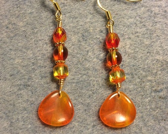 Orange yellow Czech glass rose petal dangle earrings adorned with orange yellow Czech glass beads.