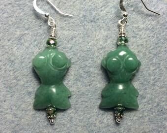 Green aventurine gemstone goldfish bead earrings adorned with green Chinese crystal beads.