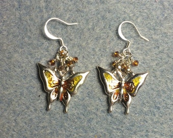 Amber and yellow enamel butterfly charm dangle earrings adorned with tiny amber and yellow Chinese crystal beads.