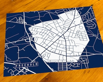 Freehold, NJ - Map Art Print  - Your Choice of Size & Color!