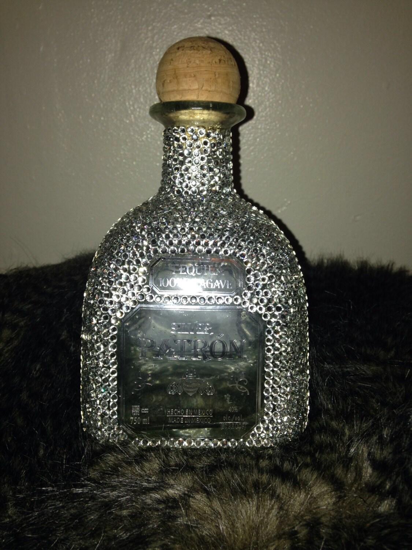 Empty rhinestone bling patron liquor bottle by blingbottlebabi - Uses for empty liquor bottles ...