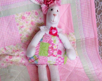 Bunnies for Sale, Handmade Quilt Body Bunny, Shabby Chic Bunny, Easter Bunny, Handmade Stuffed Bunny