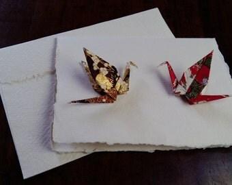 Origami Crane Greeting card - Handmade - Japanese chiyogami paper