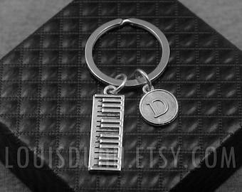 Piano Key chain -Piano Keys Keychain -Initial Charm Keychain -Your Choice of A to Z