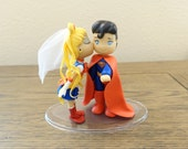 Sailor Moon and Superman Cake Topper. Wedding Cake Topper. Sailor Moon & Superman