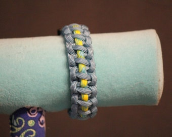 Pastel Blue Enwrapped Neon Green Paracord