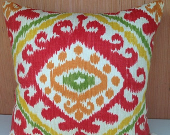 SET OF 2 Red Green and Mustard Yellow Throw Pillow
