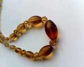 Beautiful amber crystal bead choker necklace antique vintage retro jewellery steampunk victorian style