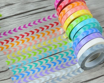 12 Rolls set (8mmx11m) Rainbow Arrow Masking Tape Set - Chevron Japanese Washi Tape - Washi tape set