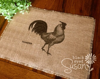 """Farm Animal Placemat of Natural Burlap with Raw and Reinforced Edge 