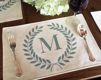 "16 Color Choices: Monogram Laurel Wreath Placemat of Natural 100% Cotton Canvas or Burlap | Cotton Backing | 11"" x 16"""